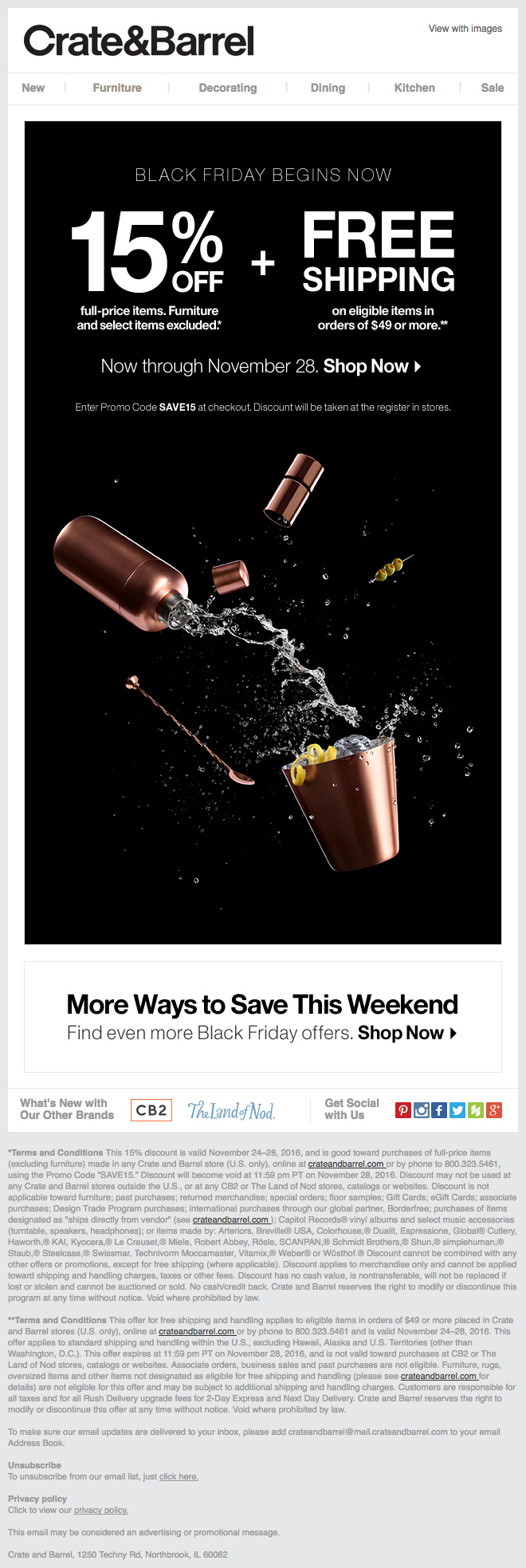 Crate and Barrel Black Friday Email