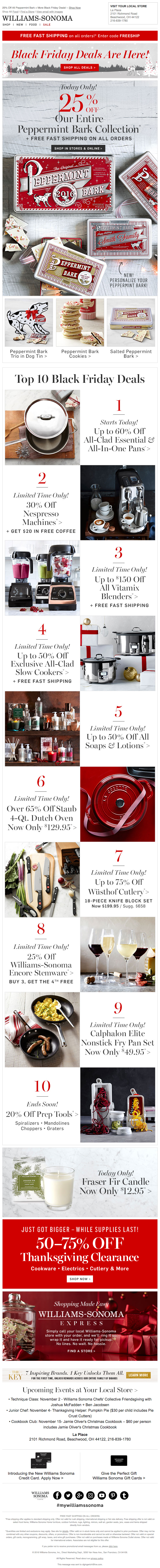 Williams Sonoma Black Friday Email