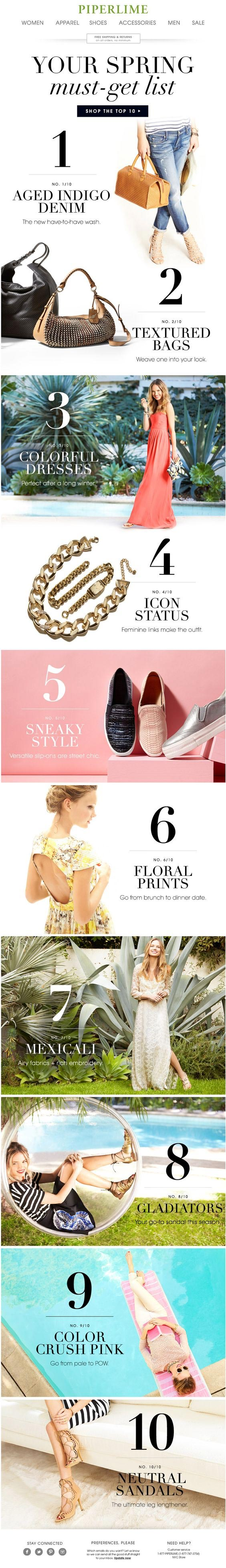Piperlime: Spring Must-Get List Email