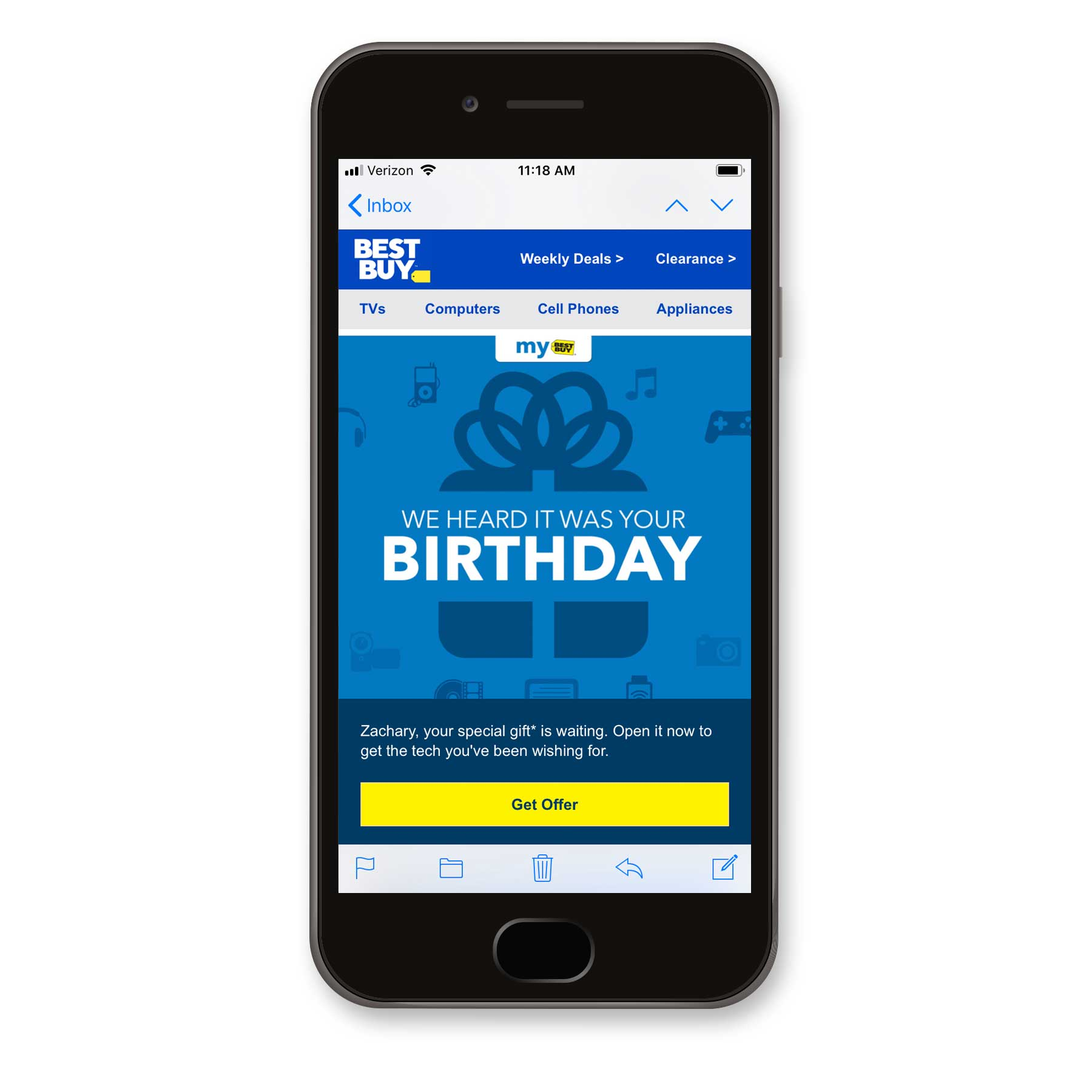 Birthday Email from Best Buy