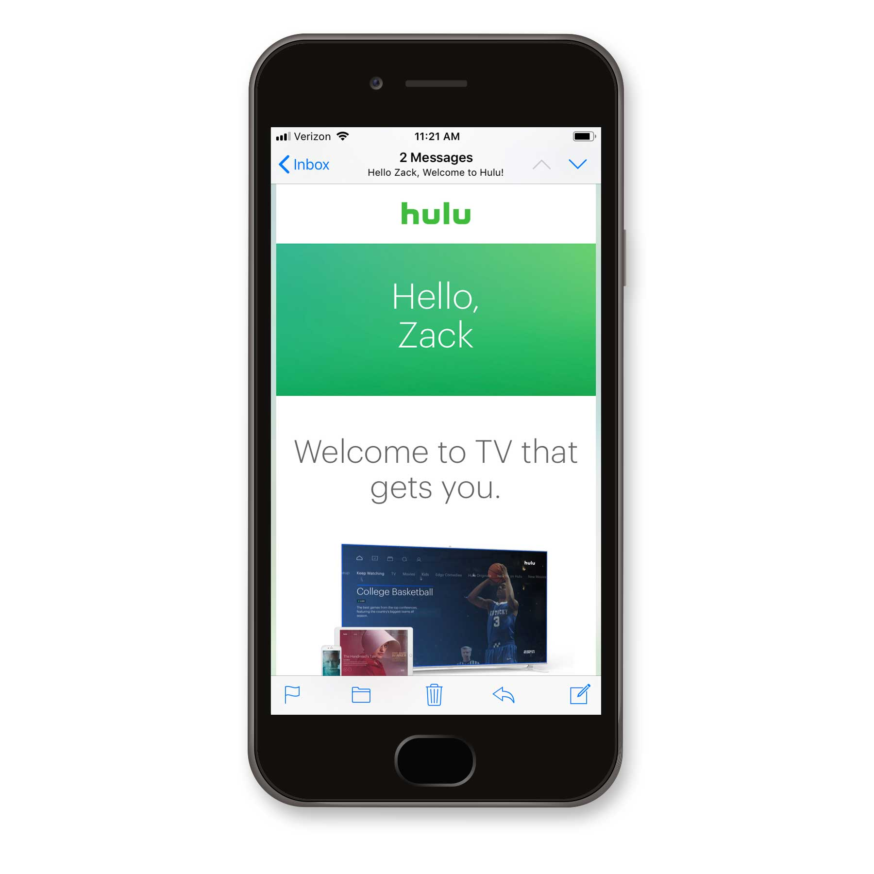 Hulu Welcome Email