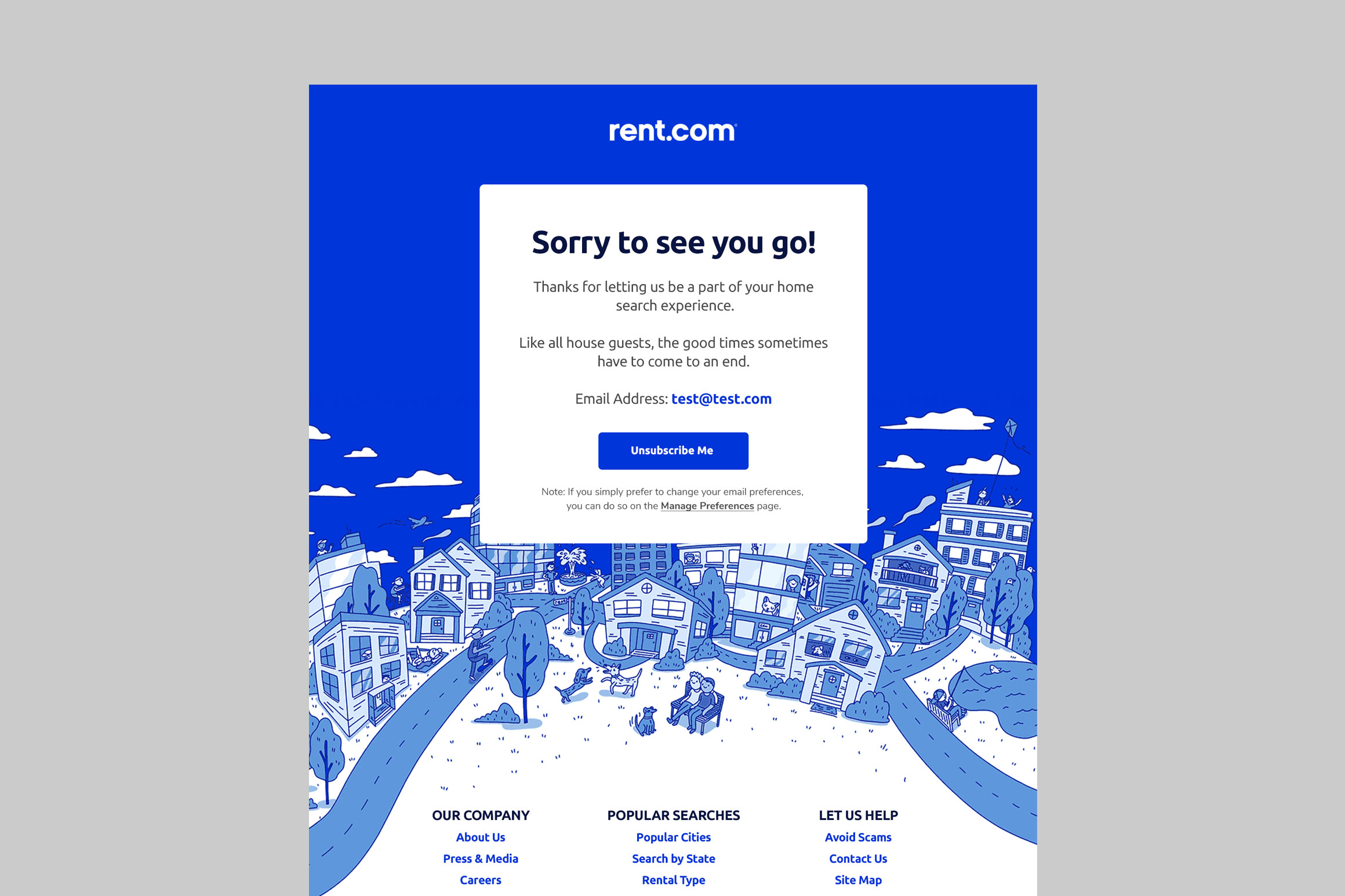 Rent.com Unsubscribe Webpage