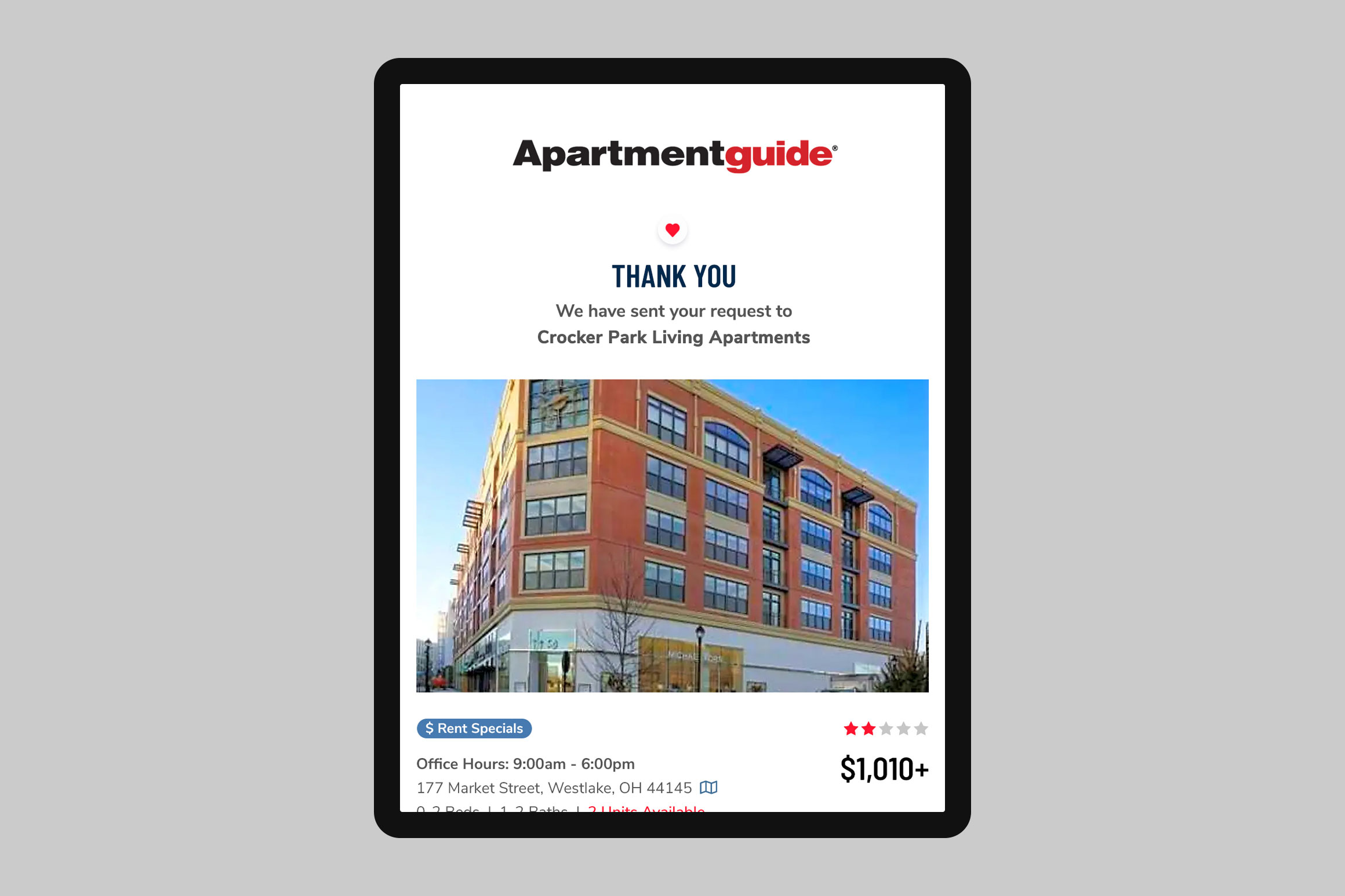 Apartment Guide Confirmation Email