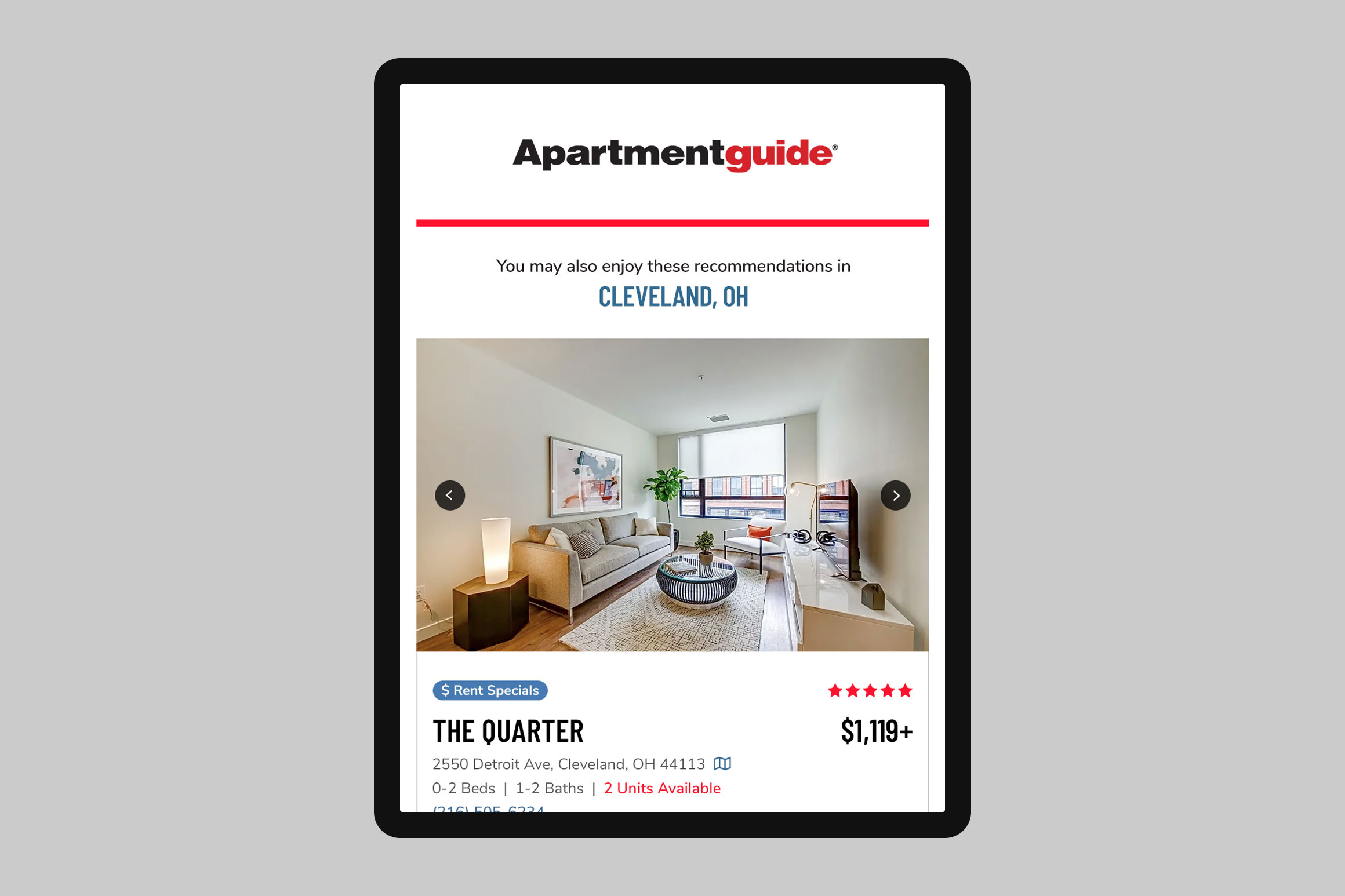 Apartment Guide Recommendations Email