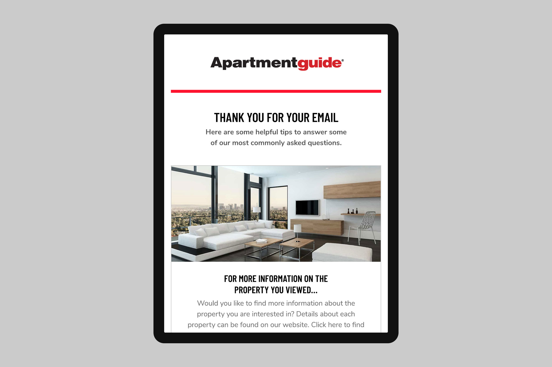 Apartment Guide Reply Email