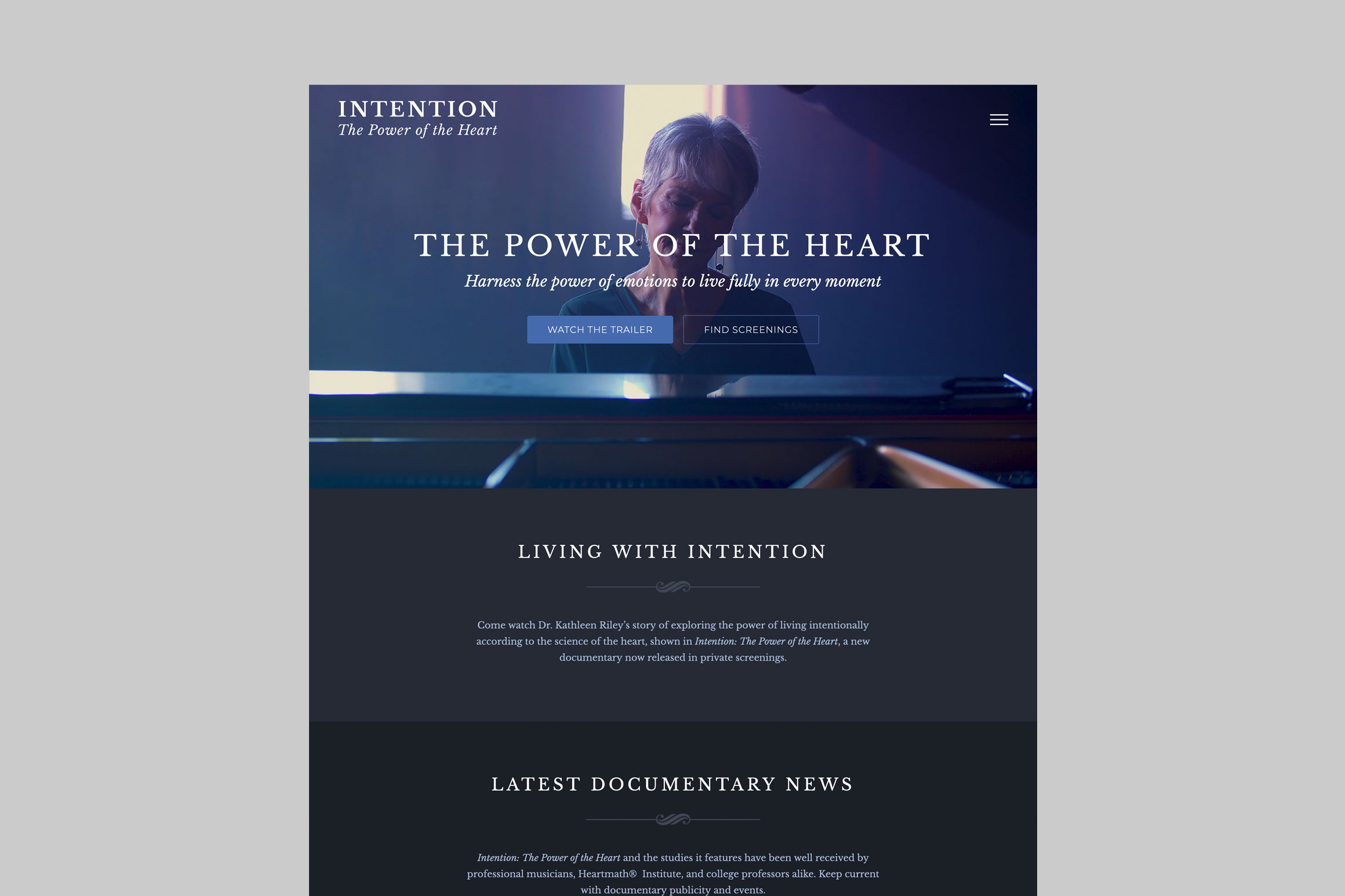 Intention Documentary Website - Homepage