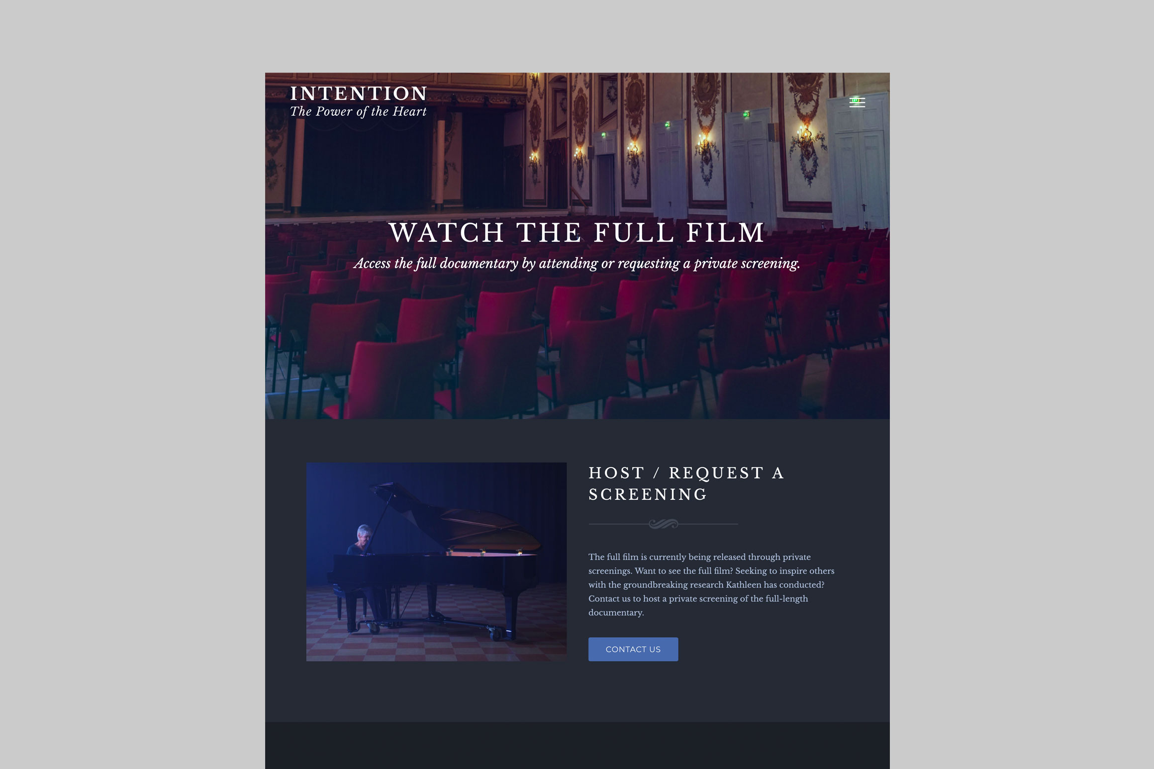 Intention Documentary Website - Screenings