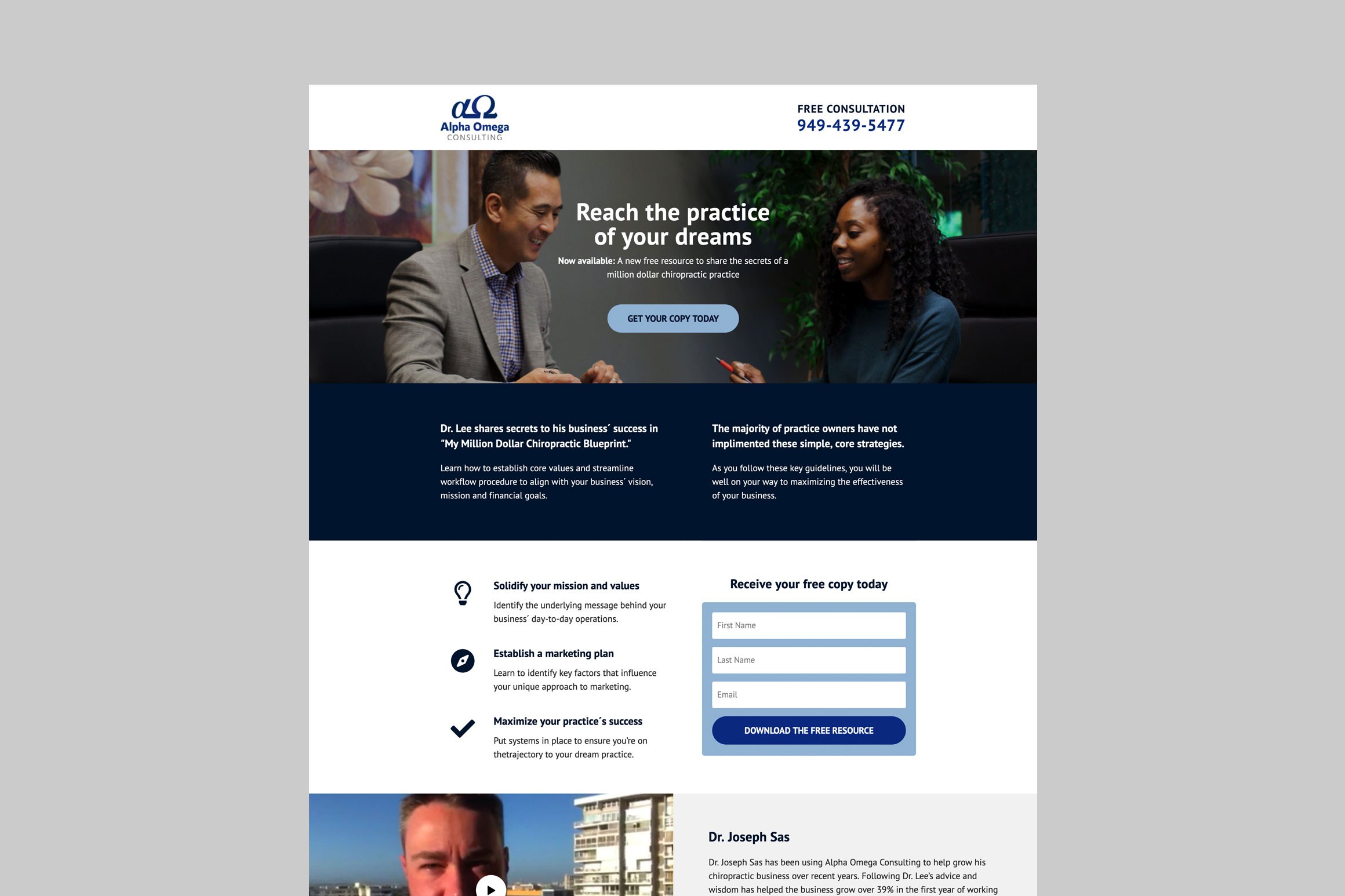 Alpha Omega Consulting Landing Page