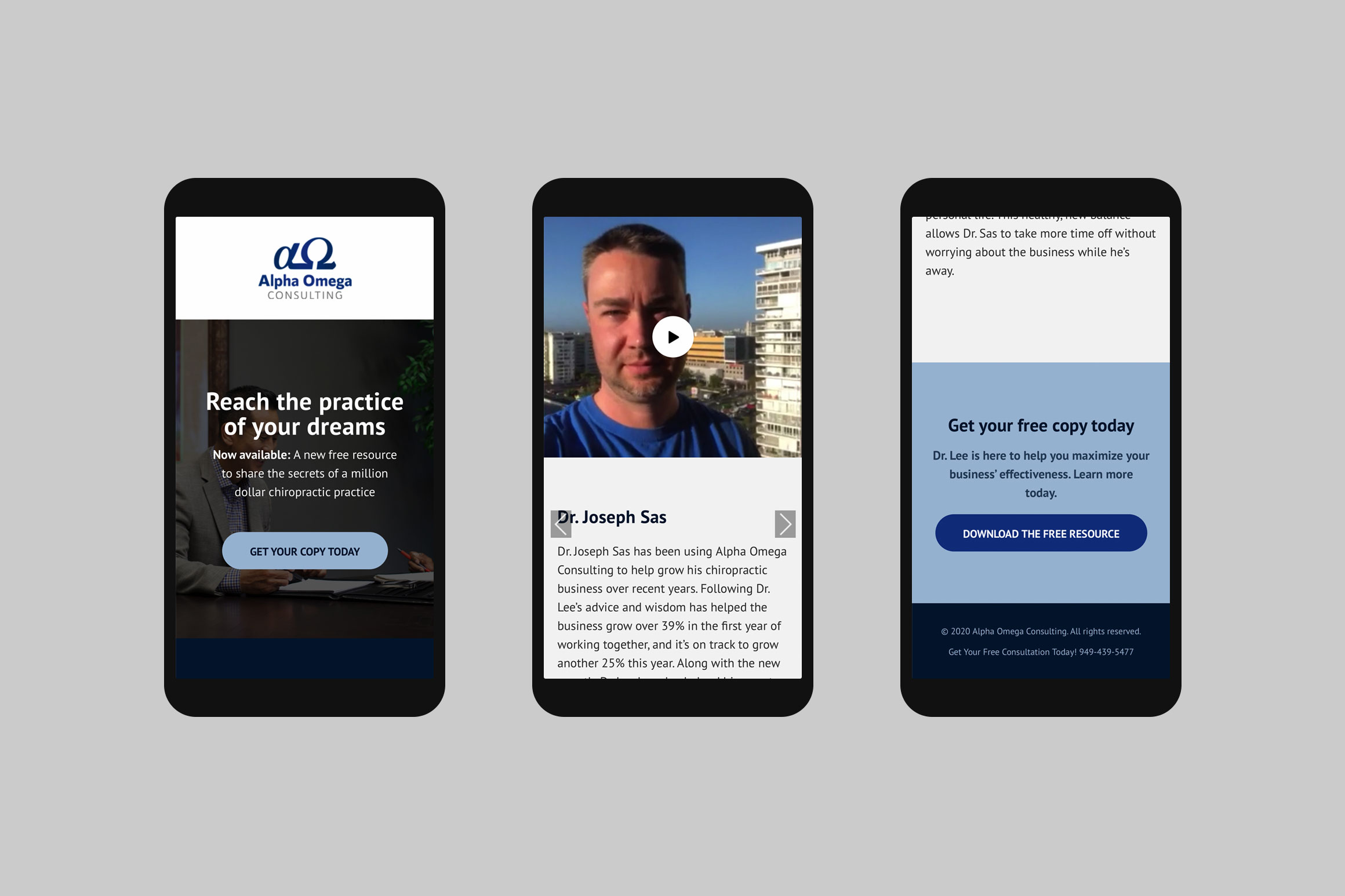 Alpha Omega Consulting Mobile Landing Page