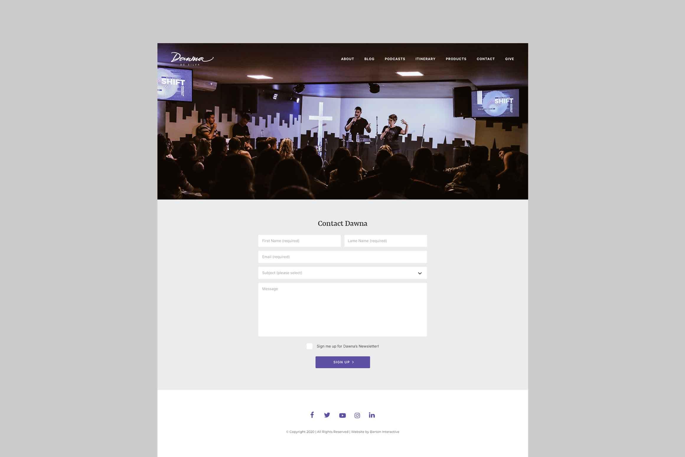 Dawna De Silva Website Contact Page
