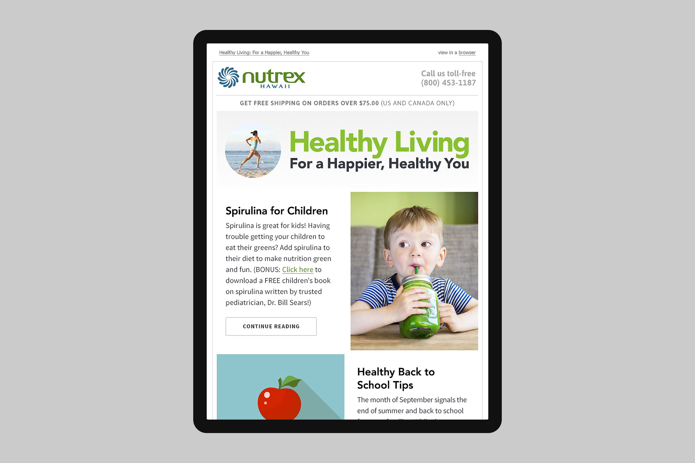 Nutrex Hawaii Healthy Living Email