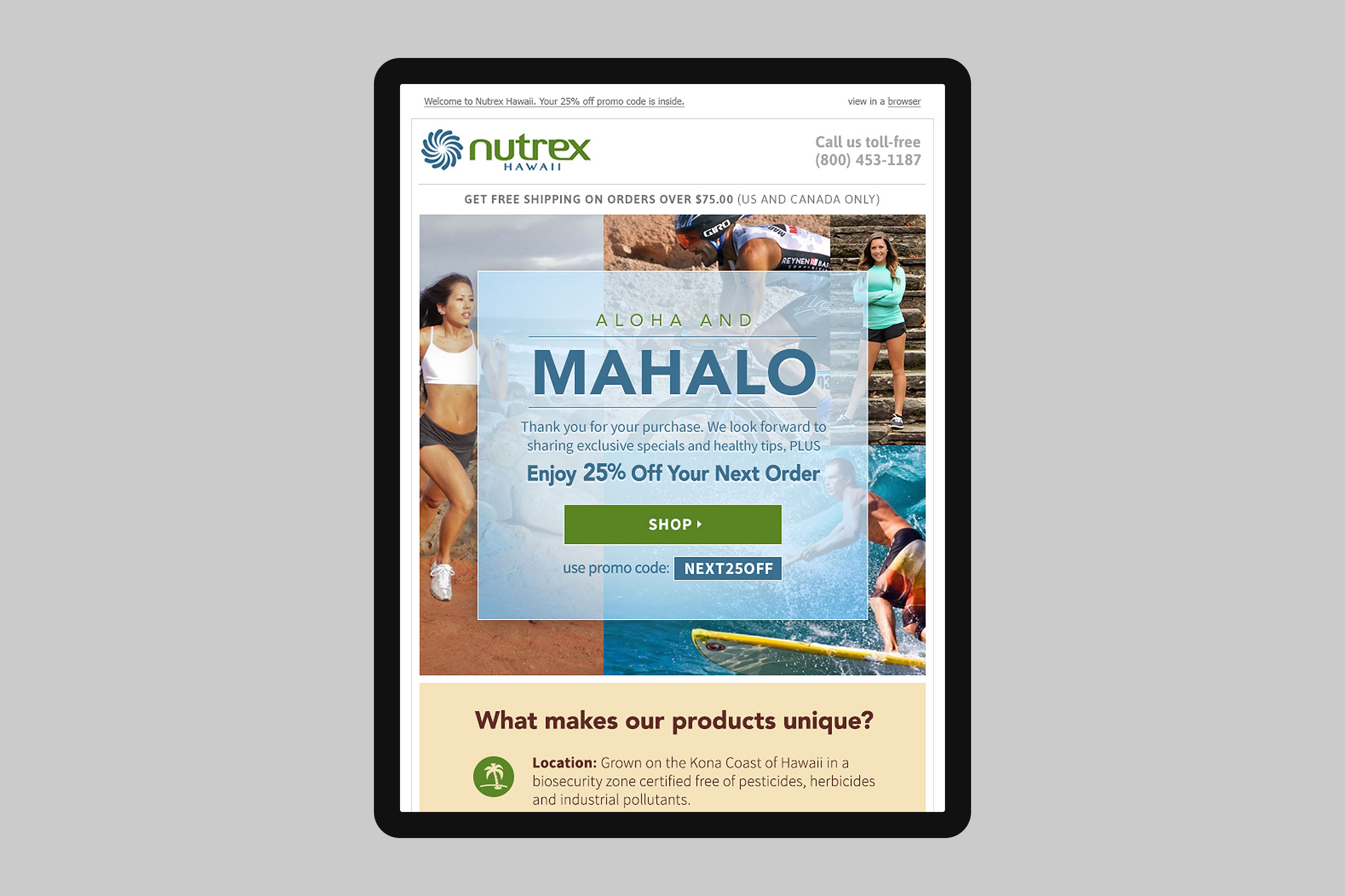 Nutrex Hawaii Email Marketing