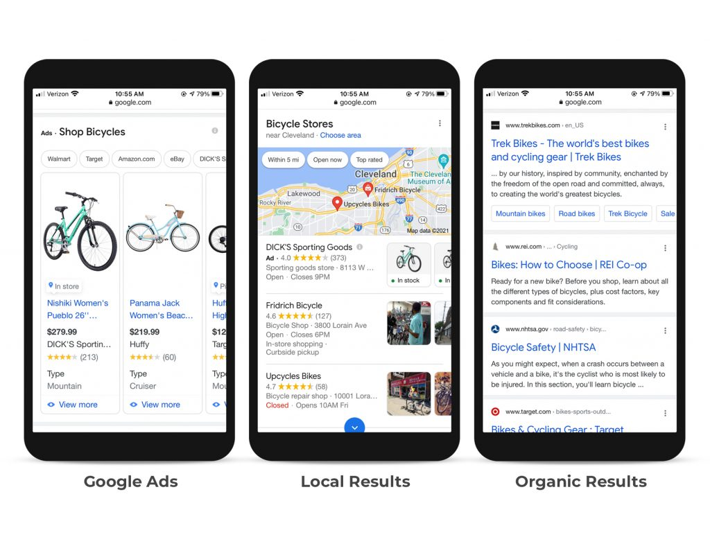 Google SERPs on mobile.